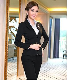 Pant Blue Pant Suits Formal Ladies Office Ol Uniform Designs Women Elegant Business Work Wear Jacket With Trousers Sets Radient Jacket Pant Suits
