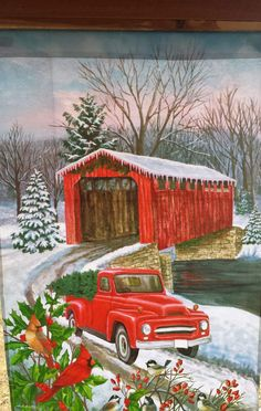 Selmad Home Decorative Merry Christmas Garden Flag Red Truck Double Sided, Rustic Quote House Yard Flag Winter Xmas Pickup, Holiday Plaid Garden Yard Decorations, Vintage Seasonal Outdoor Flag 12 x 18