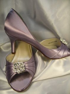 Wedding Shoes Bridal Satin Pale Purple Shoes Over by ABiddaBling, $135.00