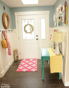 Love the different cheery colors! Lake Cottage Style Summer House Tour 2014 {and awesome Giveaway!} - The Happy Housie Beach Cottage Style, Lake Cottage, Cottage Chic, Entry Hall, Creative Home, Home Decor Inspiration, Country Decor, Decoration, House Tours
