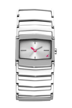 This mid-sized shaped case gets a rather chunky look with the metal bracelet. The bold broad look of the strap gives this otherwise simplistic looking watch a very differentiated look. The broad metal bracelet, which showcases the white dial, brings forth a trendy look for the new age girl.