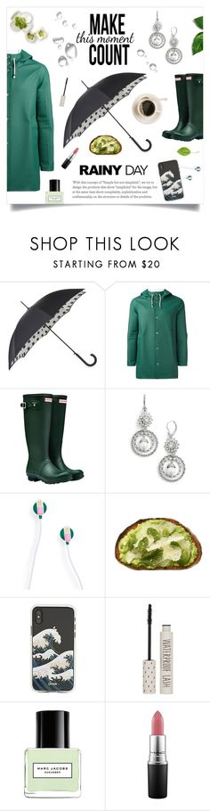 """""""Rainy Day"""" by linmari ❤ liked on Polyvore featuring Fulton, Stutterheim, Hunter, Marchesa, ban.do, Sonix, Topshop, Marc Jacobs, MAC Cosmetics and rainydayoutfit"""
