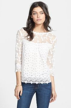 Hinge® Lace Detail Three Quarter Sleeve Blouse available at #Nordstrom