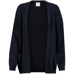 Madeleine Thompson Zach cashmere cardigan ($240) ❤ liked on Polyvore featuring tops, cardigans, sweaters, outerwear, navy, open front cardigan, madeleine thompson, lightweight open front cardigan, navy blue cashmere cardigan and navy blue cardigan