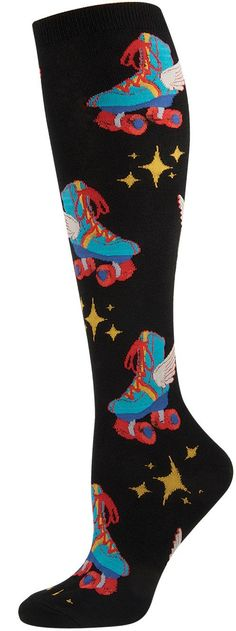 Socksmith Women's Novelty Knee-highs - Retro Roller Skates - Cotton/lycra Blend