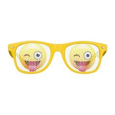 Wink Happy Emoji Face Tongue Out Party Glasses ($13) ❤ liked on Polyvore featuring accessories, eyewear, eyeglasses and party glasses