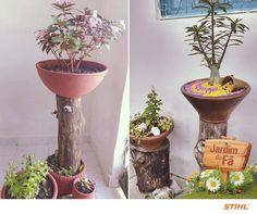 Vasos, troncos e pneus: uma combinação criativa feita pela Nazaré C. Tavares, de João Pessoa/PB, que resultou em belos minijardins. Concorda? Agora é com você: envie as fotos do seu jardim! :)