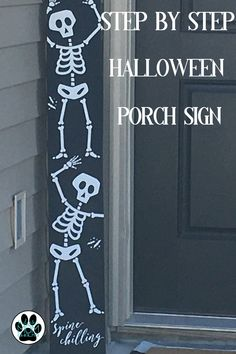 Get into the Halloween Spirit with this easy DIY skeleton porch sign! Happy Halloween, Spirit Halloween, Fall Halloween, Classy Halloween, Halloween Costumes, Halloween Halloween, Halloween Veranda, Halloween Porch, Halloween Wood Signs
