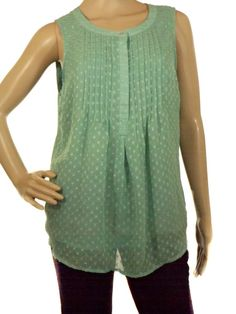 Dainel rainn Women's Seafoam Green Sleeveless Blouse Tunic Half Button Size M #Danielrainn #Blouse #Casual