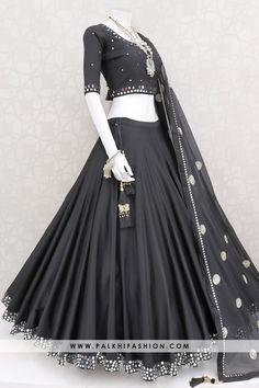 Palkhi fashion exclusive black premium cotton satin silk navratri chaniya choli & blouse with real mirror work.It comes with pure chiffon dupatta. Indian Gowns Dresses, Indian Fashion Dresses, Indian Designer Outfits, Designer Dresses, Choli Designs, Fancy Blouse Designs, Stylish Dress Designs, Latest Bridal Dresses, Indian Bridal Outfits