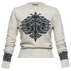 """Knitted pullover """"Iceland"""" in light grey with jacquard pattern - Lena Hoschek Traditional Jacket, Traditional Dresses, Feminine Mode, Dirndl Blouse, Intarsia Patterns, Ribbon Skirts, Vintage Inspiriert, Trends, Piece Of Clothing"""