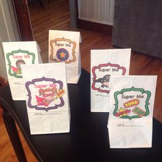 $ Students fill these bags with items from home that will help them tell the class why they are super!