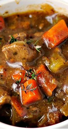 Recipe for Classic Beef Stew - Here's a good old-fashioned stew with rich beef gravy that lets all of the flavors come through. This is the perfect hearty dish for a blustery winter day. beef stew Recipe for Classic Beef Stew Slow Cooker Recipes, Crockpot Recipes, Soup Recipes, Cooking Recipes, Healthy Recipes, Beef Stew Recipes, Stewing Beef Recipes, Meat And Potatoes Recipes, Meat Recipes