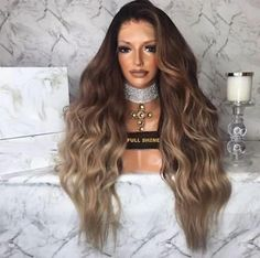 Details about Full Shine Lace Front Wigs Long Natural Wavy Human Hair Ombre Density Real Hair Wigs, Short Hair Wigs, Long Wigs, Belliage Hair, Lace Hair, Blonde Hair, Box Braids Hairstyles, Hair Shadow, Stylish Short Hair