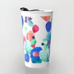Buy Cacti Confetti Travel Mug by Amaya . #art #design#decor #cacti #cactus #color #abstract #confetti #society6 #artist #travel #travelmug