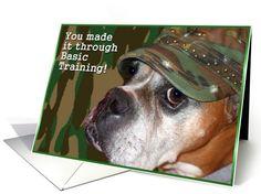 Congratulations you made it through basic training Boxer Dog card