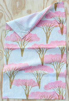 Tea Towel - Crepe Myrtle in blush. via Etsy.