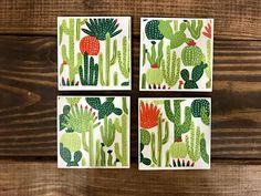 Coasters  Cactus  Handmade Ceramic Tile Coasters  Set of 4