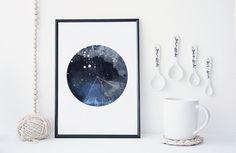 Watercolor nebula galaxy art print, geometric design, modern home decor, apartment wall art, gift, blue, minimal  ………………………………….…………………………………. I