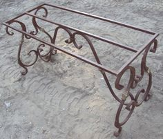 Item Wrought Iron Table Base - Recycling The Past - Architectural Salvage Iron Furniture, Rustic Furniture, Wrought Iron Chairs, Iron Table, Steel Table, Iron Work, Patio Table, Dining Tables, Iron Decor