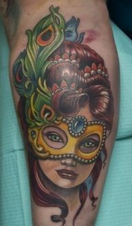Masquerade Pin Up Girl Peacock Feather Mask Tattoo