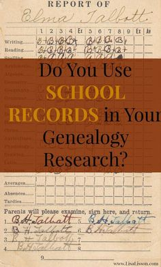 School records are often an overlooked resource used in genealogical research. Yet, the records a community keeps on its students and the records generated by individual students provide a wealth of information on your ancestor's family. Free Genealogy Sites, Genealogy Search, Family Genealogy, Genealogy Chart, Free Genealogy Records, Genealogy Forms, Genealogy Humor, Family Roots, All Family