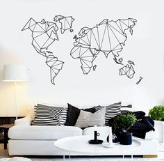 World Map Wall Decal - Gemotric World Map Sticker - Vinyl Wall Art Mural - World Map Decal for Home or Office Removable Wall Decals, Vinyl Wall Decals, Sticker Vinyl, Living Room Bedroom, Living Room Decor, Living Area, Bedroom Art, Living Room Wall Decor Stickers, Bedroom Wall Decals