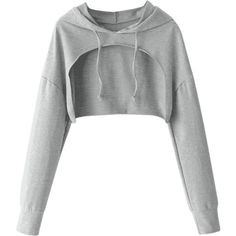 Cape Drop Shoulder Crop Hoodie Gray ($17) ❤ liked on Polyvore featuring tops, hoodies, gray top, gray hoodie, grey hooded sweatshirt, grey top and grey hoodies