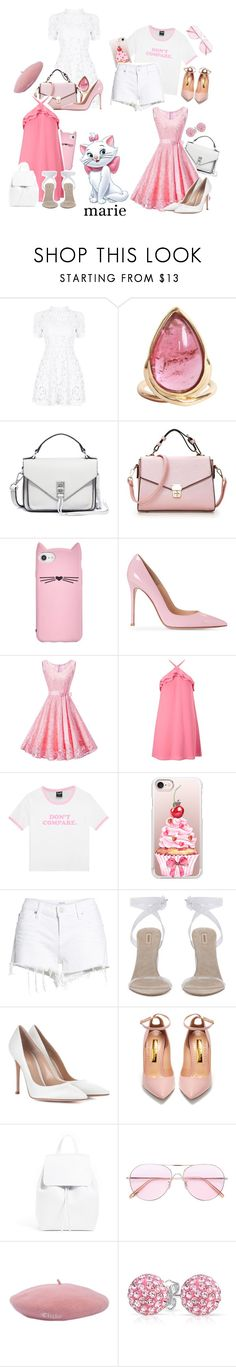 """""""&&✧; marie bound / belle"""" by disney-darlings ❤ liked on Polyvore featuring Rebecca Minkoff, Kate Spade, WithChic, Miss Selfridge, Casetify, Hudson Jeans, Gianvito Rossi, Rupert Sanderson, Oliver Peoples and Bling Jewelry"""