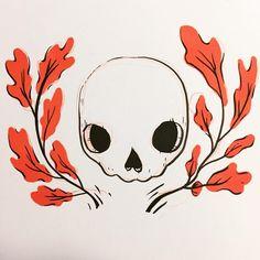 "(@ooomami) on Instagram: ""It's fall. #inktober #skulls #artistsofinstagram #oak"""
