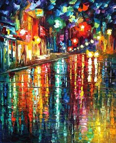 Leonid Afremov ... LOVE his style ... rain doesn't have to be dismal ... it can be magical and vibrant and alive with light ...
