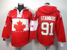 Team Canada 91 Steven STAMKOS 2014 Winter Olympics Lace-Up Hoodie Sweatshirt - Red