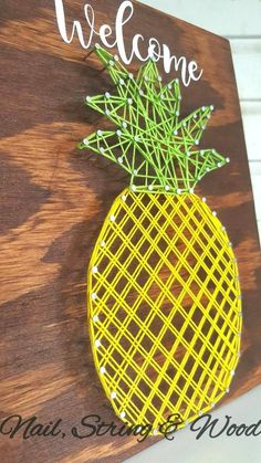 Items similar to Pineapple String Art- Pineapple Decor - Pineapple Teaching -Pineapple Sign- Welcome Pineapple - Hospitality Sign - String Art Pineapple Sign on Etsy - Pineapple String Art Sign Pineapple Wall Decor Welcome - String Art Templates, String Art Patterns, String Art Tutorials, Pineapple Wall Decor, Pineapple Art, Pineapple Decorations, Crafts To Do, Arts And Crafts, Nail String Art