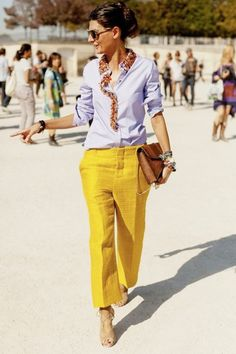 a button front shirt and gaucho pants
