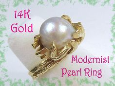 Mings 14K Gold ~ 10 mm Baroque Pearl Ring ~ 14K Gold Branch Design Band ~ Mings…