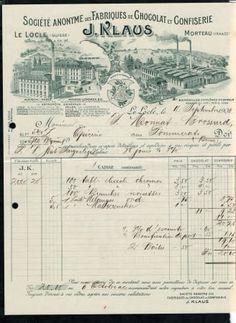 1906 Rechnung Chocolat Klaus Le Locle