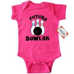 Cute Future Bowler Infant Creeper has colorful bowling pins and ball. $18.99 www.cutehobbytshirts.com