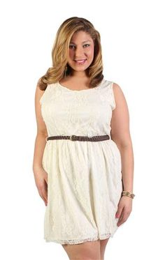 plus size belted all over lace dress