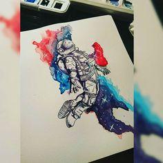 Astronotun dönüşü  #astronaut #astronauttattoo #tattoodesign #watercolor #galaxy #nebula #colortattoo #universe