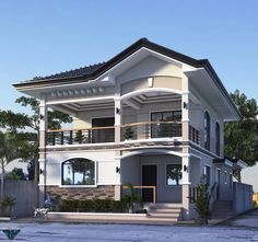Architecture is not based on concrete and steel, and the elements of the soil. It's based on wonder. | Home House Floor Design, Two Story House Design, 2 Storey House Design, Two Storey House, Bungalow House Design, House Design Photos, Small House Design, Modern House Design, House With Balcony