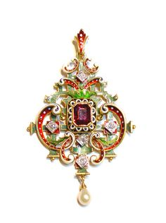 "Lucien Falize neo-Renaissance pendant. ""in the neo-Renaissance taste, the central stone a pink tourmaline, set within an enamelled red, white and black surround on a green enamelled frame, set with five diamonds and suspending a pearl. Lucien Falize, Paris, circa 1880"