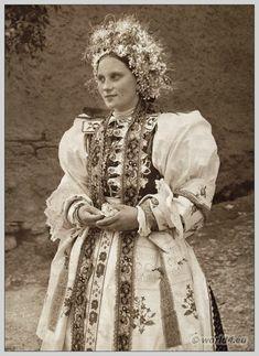 Bride in traditional wedding costume from Liptovské Sliače, Slovakia. The Low Tatras.