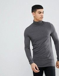 0aef8006 ASOS DESIGN | ASOS DESIGN muscle fit long sleeve t-shirt with turtleneck in  black