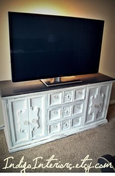 Vintage Black and White Dresser / Buffet / Changing Table / Tv Stand on Etsy, $375.00