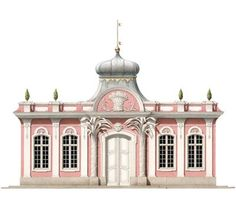 The Apiarist's House at Schönbusch, an unrealized project for a provincial estate in northern Bavaria. This charming rococo design, with its tented Turkish roof and stucco-work palm pilasters, was the work of the architect E.J. von Herrigoyen, who designed a number of pavilions still standing in the estate's extensive landscape park. From www.ArchitecturalWatercolors.com: