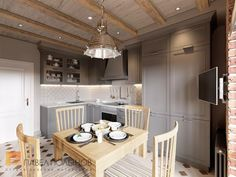"""Фото: Дизайн кухни - Интерьер квартиры в стиле прованс, ЖК """"Самоцветы"""", 100 кв.м."""