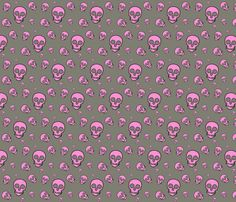 Skull White on gray tossed fabric by phatcatpatch on Spoonflower - custom fabric