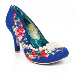 If only they had green not blue!   NEW IRREGULAR CHOICE *PEARLY GIRLY* BLUE FLORAL (F) BEADED HEELS -UK 4-5-6-7-8.5 in Clothes, Shoes & Accessories, Women's Shoes, Heels | eBay!