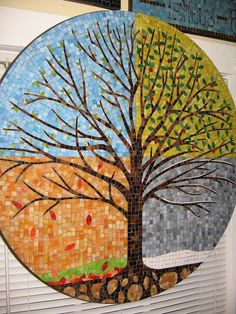 """Every 'season' comes to an end, enjoy as much as possible, learn as much as you can and embrace the new beginning each season brings ♡ """"Seasons Tree"""", Will Towns, Mosaic Artist Abaculus Art Mosaic Tile Art, Mosaic Artwork, Mosaic Crafts, Mosaic Projects, Mosaic Glass, Art Projects, Mosaic Mirrors, Mosaic Designs, Mosaic Patterns"""