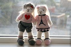 Купить Зайки-Парижане - Париж, игрушка ручной работы, подарок, интерьерная игрушка